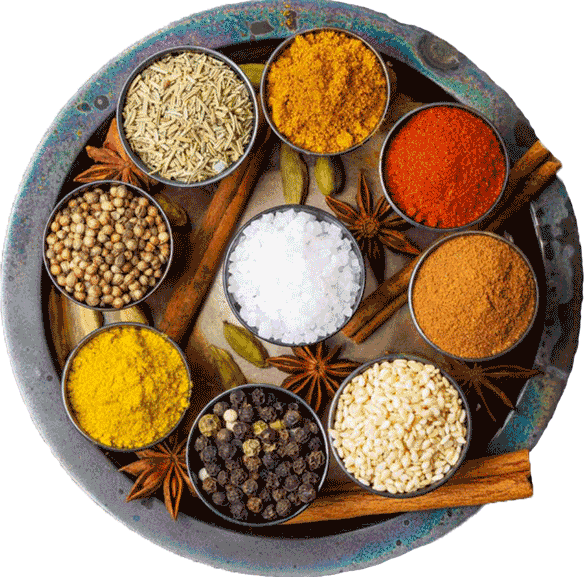 Spices in Round Plate